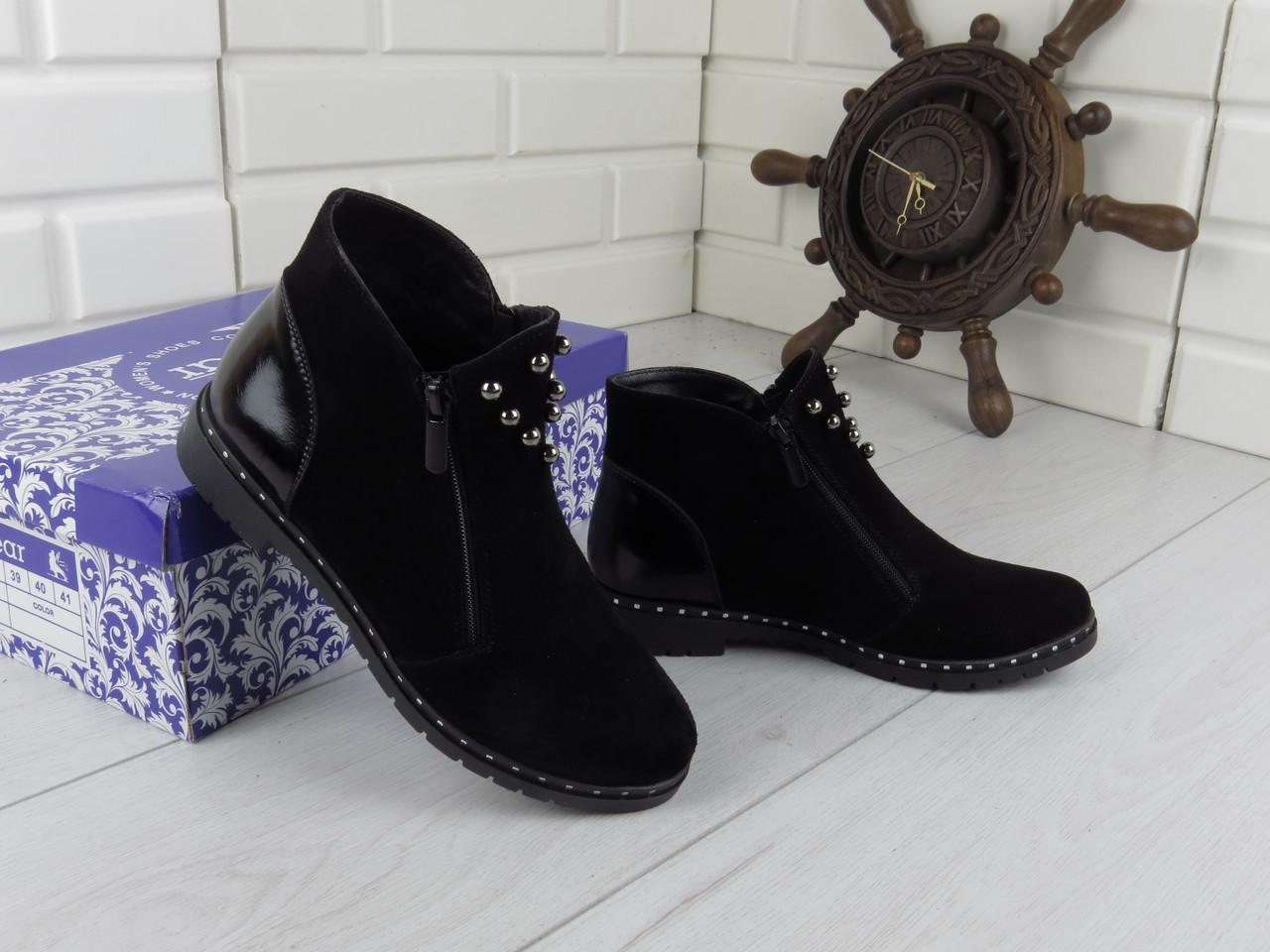 """Ботинки, ботильоны, черные """"Franko"""" НАТУРАЛЬНАЯ ЗАМША, демисезонная, качественная,  повседневная обувь"""