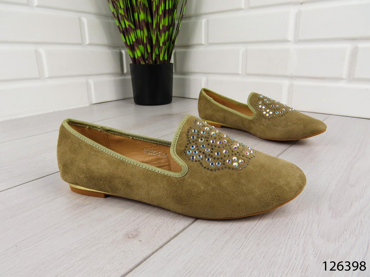 """Балетки, мокасины хаки """"Borjo"""" эко замша, легкая, повседневная, удобная женская обувь"""