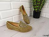 """Балетки, мокасины хаки """"Borjo"""" эко замша, легкая, повседневная, удобная женская обувь, фото 4"""