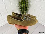"""Балетки, мокасины хаки """"Borjo"""" эко замша, легкая, повседневная, удобная женская обувь, фото 5"""