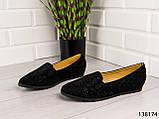 """БОЛЬШИЕ РАЗМЕРЫ > Балетки женские, черные """"Bonut"""" эко замша, туфли женские, мокасины женские, женская обувь, фото 4"""
