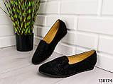 """БОЛЬШИЕ РАЗМЕРЫ > Балетки женские, черные """"Bonut"""" эко замша, туфли женские, мокасины женские, женская обувь, фото 5"""