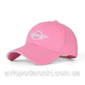 Кепка MINI Cooper розовая, бейсболка с лотипом  авто МИНИ купер
