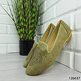 """Балетки жіночі, хакі """"Skandy"""" еко замша, туфлі жіночі, мокасини жіночі, жіноче взуття, фото 6"""