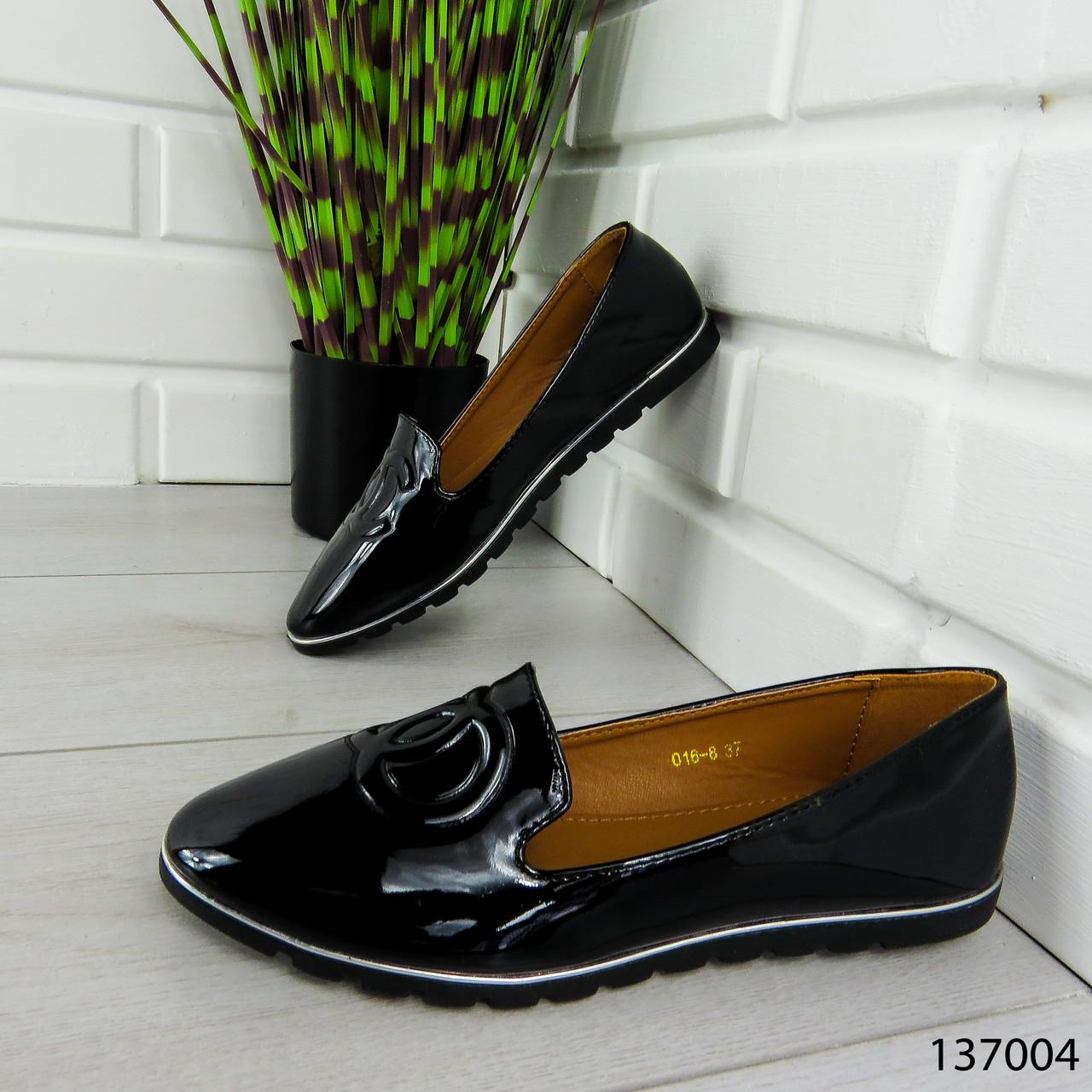 """Балетки женские, черные """"Firci"""" эко лак, туфли женские, мокасины женские, женская обувь"""