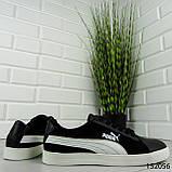 """Кроссовки мужские черные в стиле """"Puma"""" НАТУРАЛЬНАЯ КОЖА + ЗАМША мокасины мужские, кеды мужские, обувь мужская, фото 7"""