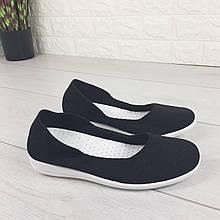 Балетки женские черные текстильные, туфли женские, мокасины женские, женская обувь
