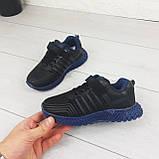 Кросівки дитячі на липучках і шнурках. Кросівки підліткові чорний з еко шкіри. Розміри 31-36, фото 3