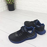 Кросівки дитячі на липучках і шнурках. Кросівки підліткові чорний з еко шкіри. Розміри 31-36, фото 4