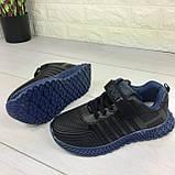 Кросівки дитячі на липучках і шнурках. Кросівки підліткові чорний з еко шкіри. Розміри 31-36, фото 7