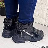 Жіночі черевики демісезонні чорні з еко шкіри. Всередині утеплювач текстильний, фото 3