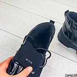 Жіночі черевики демісезонні чорні з еко шкіри. Всередині утеплювач текстильний, фото 4