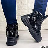 Жіночі черевики демісезонні чорні з еко шкіри. Всередині утеплювач текстильний, фото 5