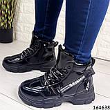 Жіночі черевики демісезонні чорні з еко шкіри. Всередині утеплювач текстильний, фото 6