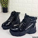 Жіночі черевики демісезонні чорні з еко шкіри. Всередині утеплювач текстильний, фото 8