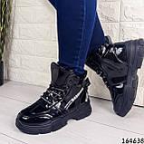 Жіночі черевики демісезонні чорні з еко шкіри. Всередині утеплювач текстильний, фото 9