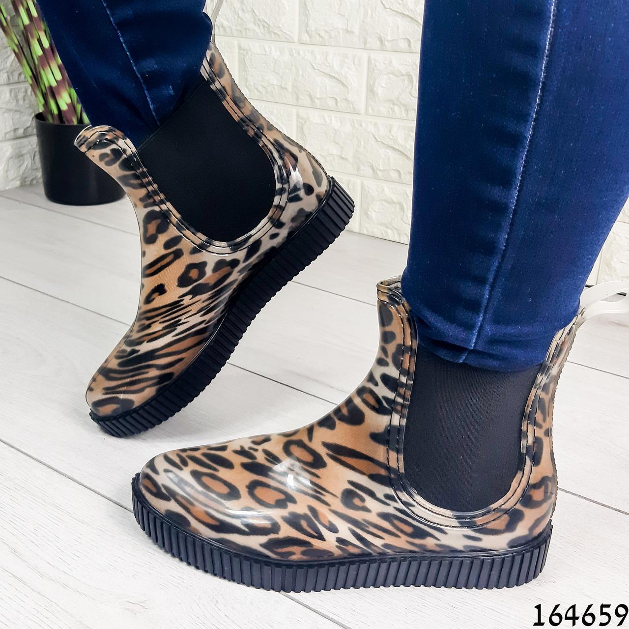 Женские ботинки демисезонные литые, леопардовые из резины