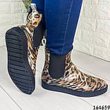 Женские ботинки демисезонные литые, леопардовые из резины, фото 3