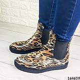 Женские ботинки демисезонные литые, леопардовые из резины, фото 7