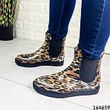 Женские ботинки демисезонные литые, леопардовые из резины, фото 8