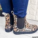 Женские ботинки демисезонные литые, леопардовые из резины, фото 9