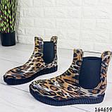 Женские ботинки демисезонные литые, леопардовые из резины, фото 10