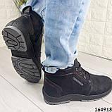 Ботинки мужские ЗИМНИЕ черные из эко нубука, внутри эко мех, фото 2