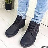Ботинки мужские ЗИМНИЕ черные из эко нубука, внутри эко мех, фото 5