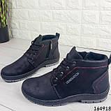 Ботинки мужские ЗИМНИЕ черные из эко нубука, внутри эко мех, фото 6