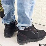Ботинки мужские ЗИМНИЕ черные из эко нубука, внутри эко мех, фото 9