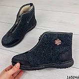 Женские ботинки ЗИМНИЕ серые из войлока. Внутри густой эко мех, фото 3