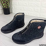Жіночі черевики ЗИМОВІ сірі з повсті. Всередині густий еко хутро, фото 7