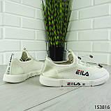 """Кроссовки женские, белые в стиле """"FILA"""" текстильные, сникерсы женские, мокасины женские, кеды женские, фото 5"""