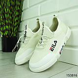"""Кроссовки женские, белые в стиле """"FILA"""" текстильные, сникерсы женские, мокасины женские, кеды женские, фото 8"""