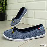 """Балетки женские, синие """"Jastude"""" текстильные, туфли женские, мокасины женские, женская обувь, фото 5"""