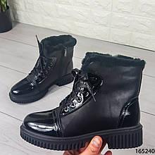 Женские ботинки ЗИМНИЕ черные из эко кожи. Внутри густой эко мех
