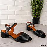 """Босоніжки жіночі, чорні, на підборах """"Cherute"""" НАТУРАЛЬНА ШКІРА, сабо жіночі, відкриті туфлі жіночі, фото 3"""