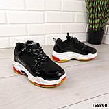 """Кросівки жіночі, чорні стилі """"Balenciaga"""" еко шкіра, снікерси жіночі, мокасини жіночі, кеди жіночі, фото 2"""