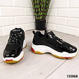 """Кросівки жіночі, чорні стилі """"Balenciaga"""" еко шкіра, снікерси жіночі, мокасини жіночі, кеди жіночі, фото 7"""