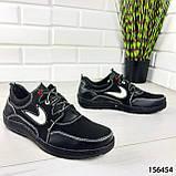"""Кросівки чоловічі, чорні стилі """"Nike"""" еко шкіра, мокасини чоловічі, кеди чоловічі, взуття чоловіче, фото 2"""