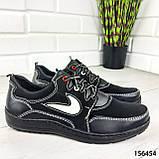 """Кросівки чоловічі, чорні стилі """"Nike"""" еко шкіра, мокасини чоловічі, кеди чоловічі, взуття чоловіче, фото 3"""