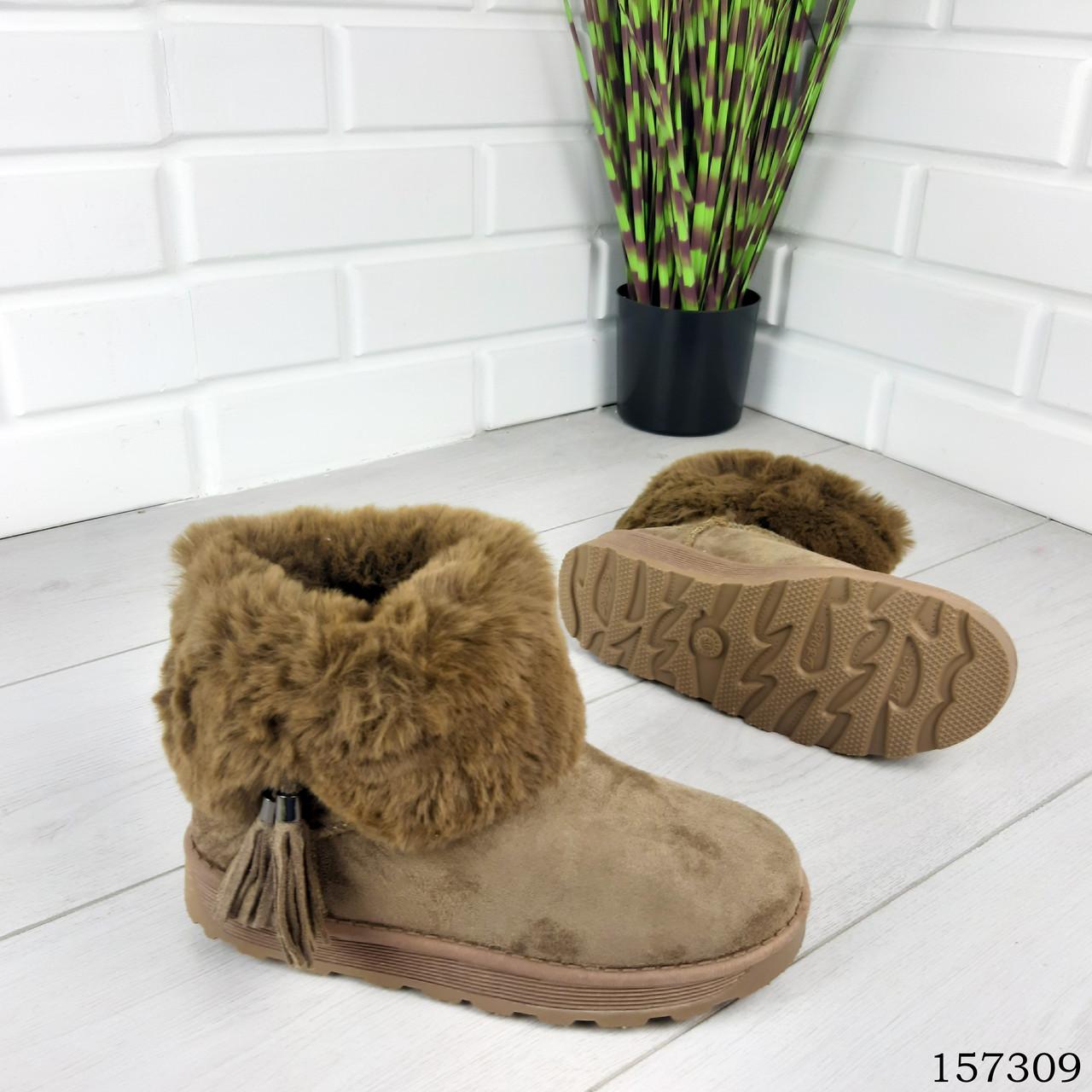 """Уггі жіночі хакі """"Letyo"""" еко замша, Зимові жіночі чоботи. Взуття жіноче."""