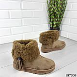 """Уггі жіночі хакі """"Letyo"""" еко замша, Зимові жіночі чоботи. Взуття жіноче., фото 3"""