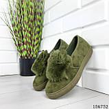 """Мокасины женские, зеленые """"Woise"""" эко замша, сникерсы женские, кроссовки женские, кеды женские, фото 7"""