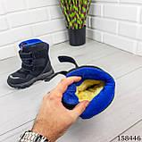 Дитячі, підліткові зимові черевики на липучках, чорного кольору з еко шкіри, всередині теплий еко хутро., фото 2