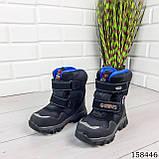 Дитячі, підліткові зимові черевики на липучках, чорного кольору з еко шкіри, всередині теплий еко хутро., фото 3