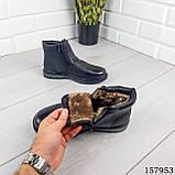 Детские, подростковые ботинки зимние на молнии, черного цвета из эко кожи, внутри теплый эко мех., фото 2