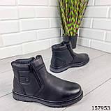 Детские, подростковые ботинки зимние на молнии, черного цвета из эко кожи, внутри теплый эко мех., фото 5