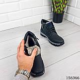 Детские, подростковые ботинки зимние на шнурках, черного цвета из эко кожи, внутри теплый эко мех., фото 2