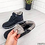 Дитячі, підліткові зимові черевики на шнурках, чорного кольору з еко шкіри, всередині теплий еко хутро., фото 2